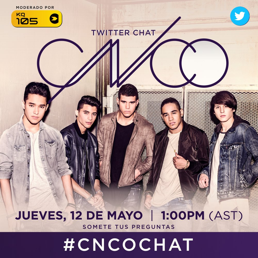 ¡Noticia de última hora! Este jueves tendremos un #TwitterChat con @CNCOmusic Somete tus preguntas>> #CNCOChat https://t.co/gbMm22W922