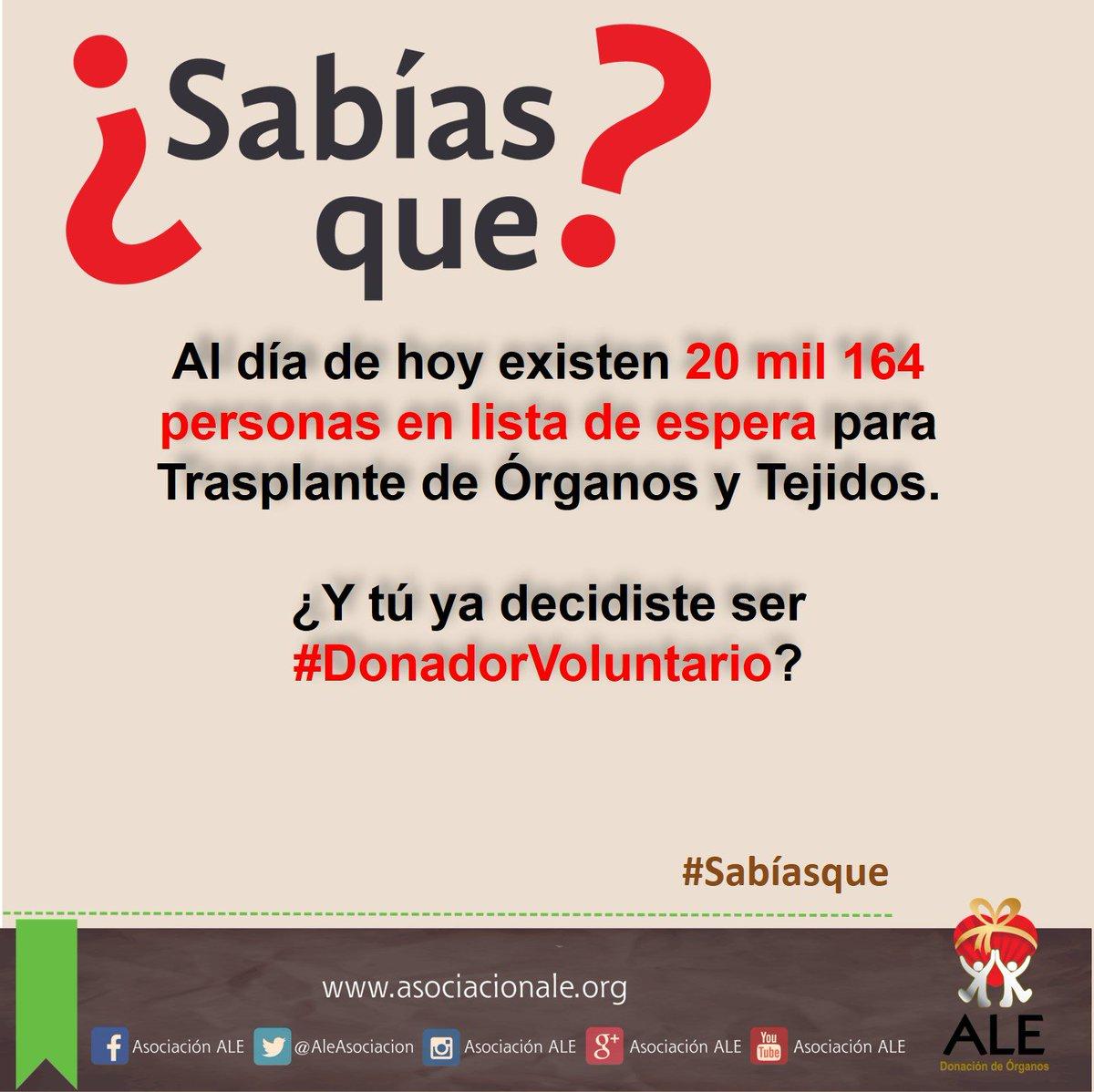 #SabíasQue Al día de hoy existen 20 mil 164 personas en lista de espera para Trasplante de Órganos y Tejidos. https://t.co/Ypt6fQ99AA