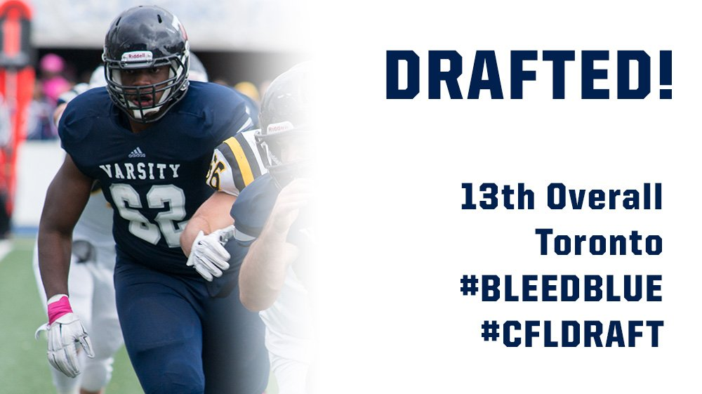 DRAFTED!!! #UofT O-Lineman DJ Sackey selected 13th overall in the 2016 #CFLDraft by the @TorontoArgos! https://t.co/ahR605nCfc