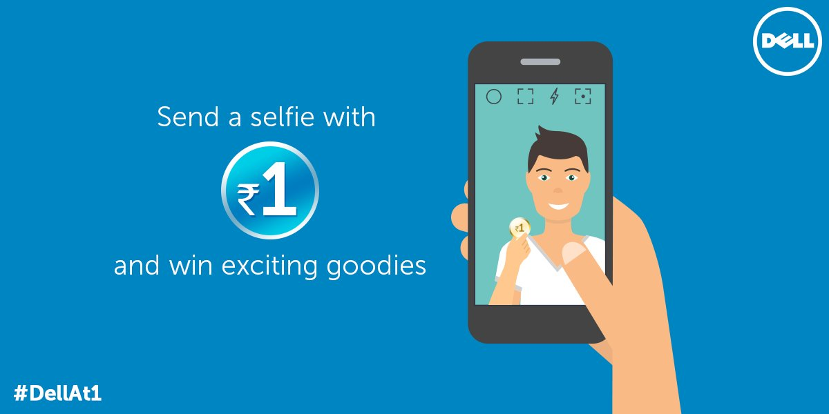 Click a selfie with a Re.1 coin, tweet it to us using #DellAt1 and stand a chance to win exciting goodies. https://t.co/wxcKKIk7d6