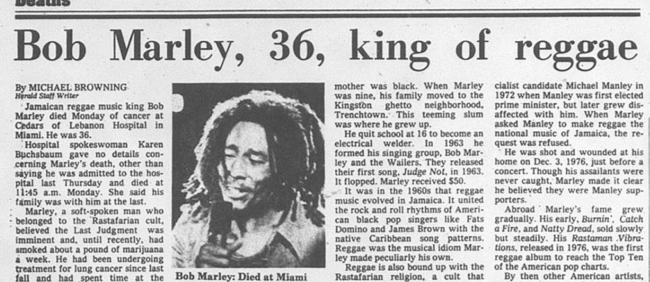 35 years ago today: Bob Marley dies of cancer in a Miami hospital https://t.co/sXX6fYOZF4 https://t.co/pJDb0jPpRS