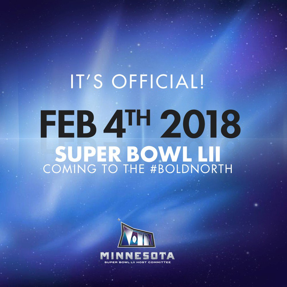 It's a date. Super Bowl LII to be played on 2/4/18 @MNSuperBowl2018 https://t.co/Wxx75BAG4i
