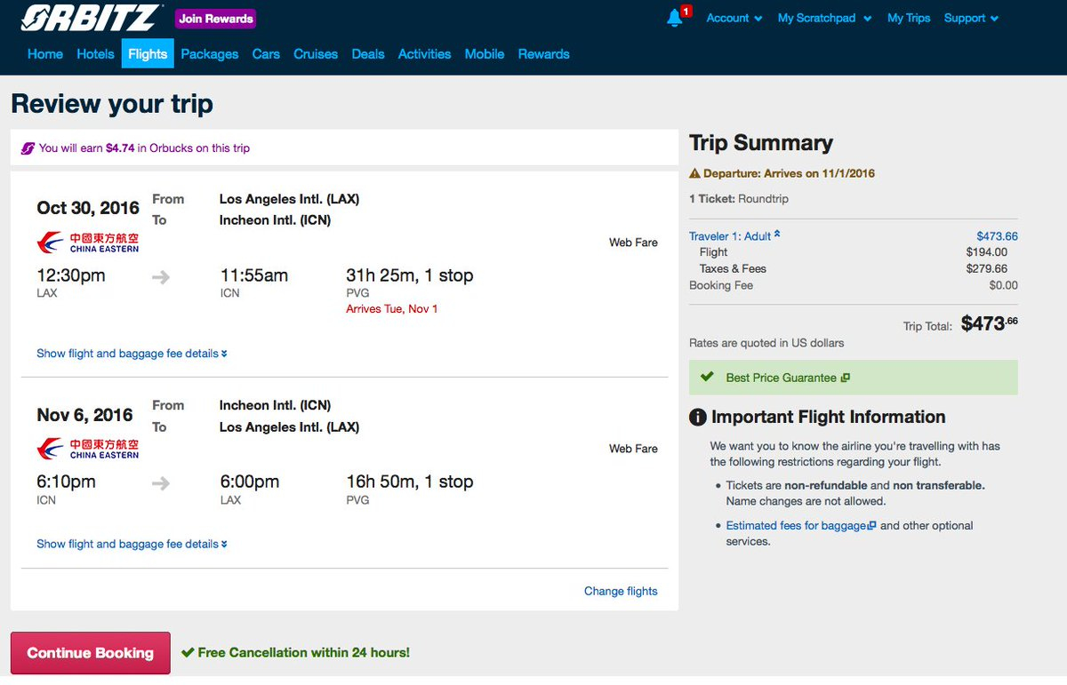RT @airfarewatchdog: Los Angeles LAX to Seoul ICN $474 roundtrip for fall travel