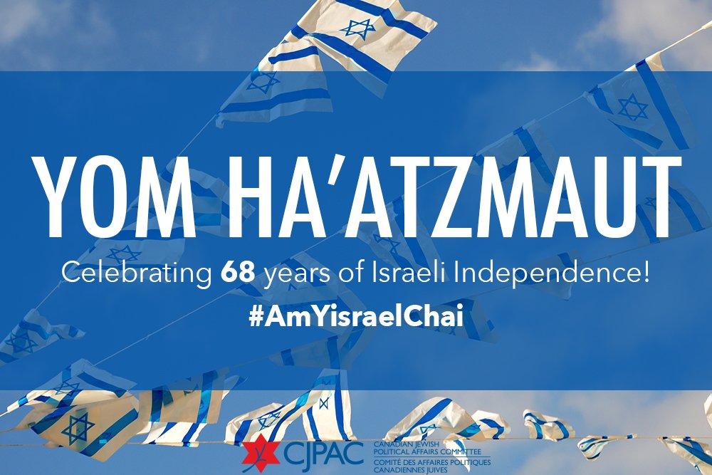 With immense pride, @CJPAC celebrates #YomHaatzmaut, #Israel's Independence Day! #AmYisraelChai https://t.co/ZhN1xmmboi