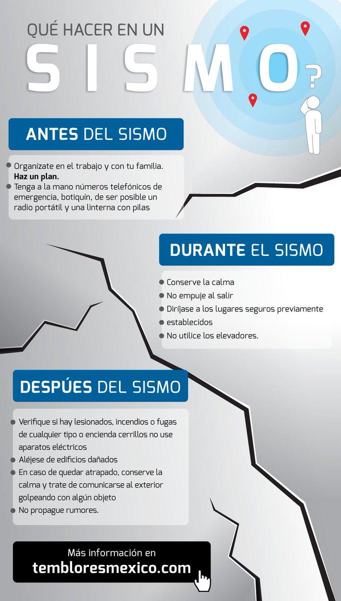 ¿Qué hacer ante un sismo? Consulta nuestras recomendaciones. https://t.co/vtVq3zrkH3