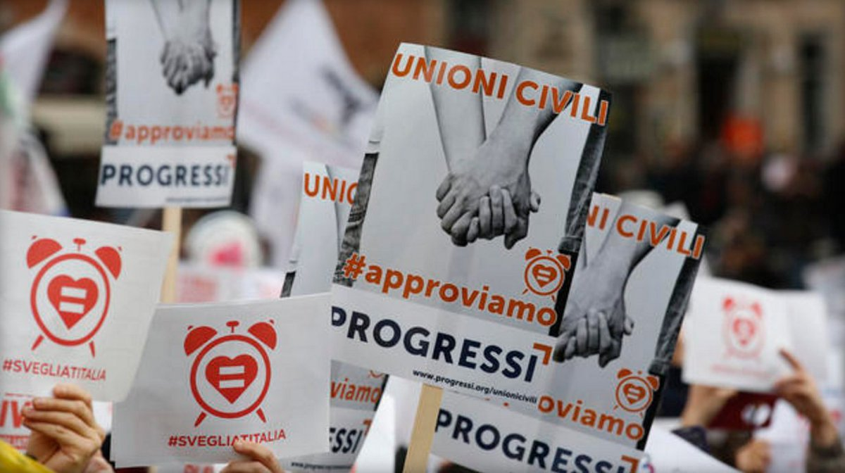 Italy, joining the rest of the European Union, gives legal rights to gay couples