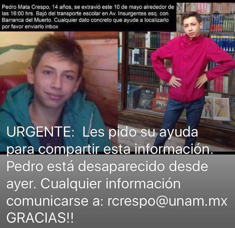 Ayuda por favor!! RT cualquier información rcrespo@unam.com.mx https://t.co/lniwSlWNuR