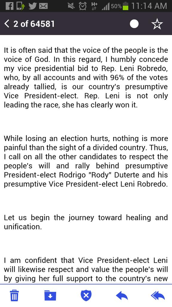 """Sen. Alan Peter Cayetano says Leni Robredo """"is not only leading the race, she has clearly won it."""" https://t.co/r12qpw1Or4"""