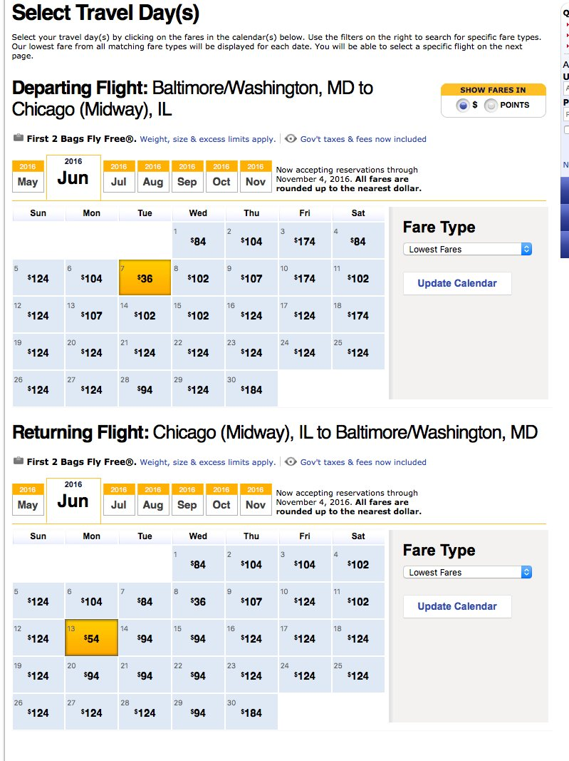 RT @airfarewatchdog: BWI-Chicago nonstop airfare Southwest $90 RT dates shown in pic
