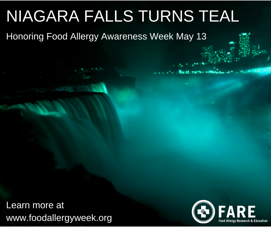 Tomorrow night, Niagara Falls will glow in TEAL for #FoodAllergyWeek! #TurnitTeal https://t.co/8IMNfyxSNi