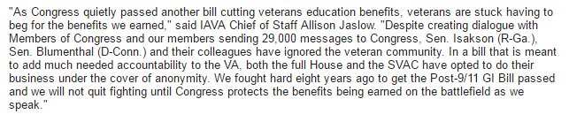 Angry @iava statement after today's passage of #VeteransFirst omnibus vowing to continue the #DefendTheGIBill fight https://t.co/7N2Foreo31