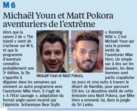"""""""A l'état sauvage"""" (adaptation de """"Running Wild"""") avec @MichaelYoun et @MPokora prochainement sur @M6. (Le Parisien) https://t.co/gzun6Krohb"""