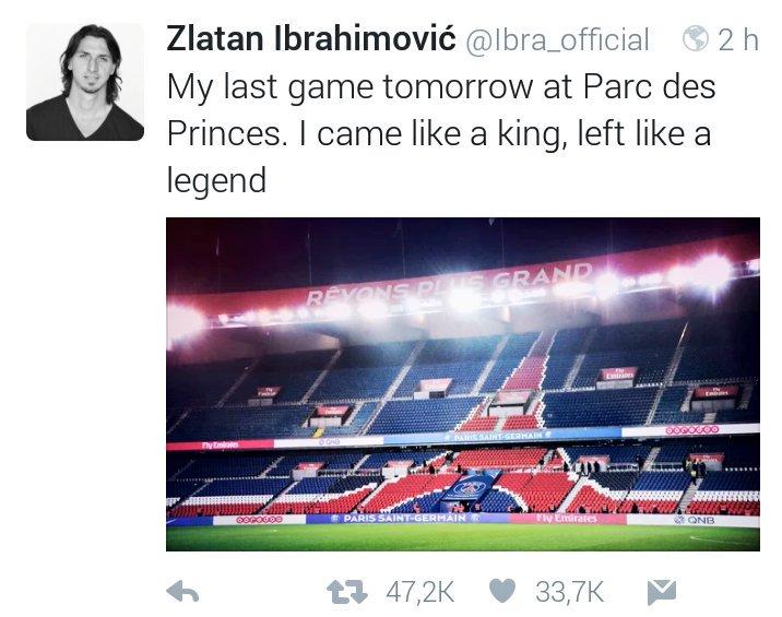 """Traduction du tweet de #Zlatan : """"Je suis arrivé avec le melon je repars avec une pastèque !"""" https://t.co/0KBnc2Fztm"""