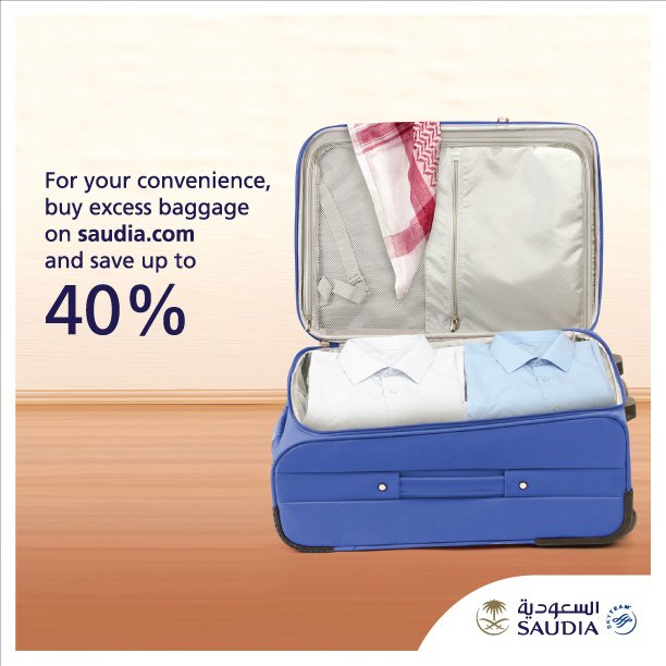 Buy excess baggage on and save up to 40% on the airport cost