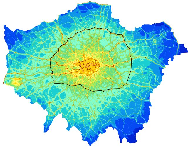The black line is N/S circular. Lots of v polluted roads outside line, which is why the ULEZ should go further. https://t.co/nbioBJfqZh