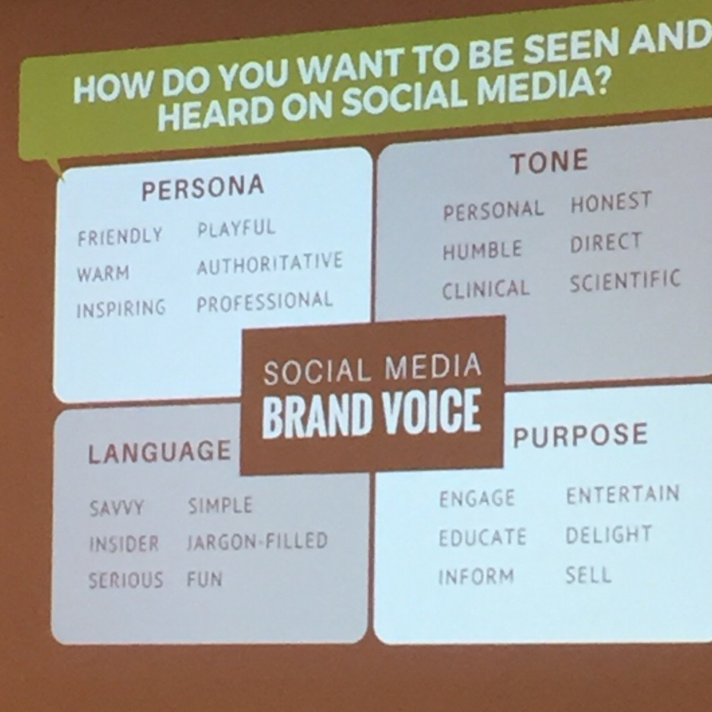 Good chart on how to build your social media brand voice #SOCIALCON https://t.co/9U2R5eXZKb