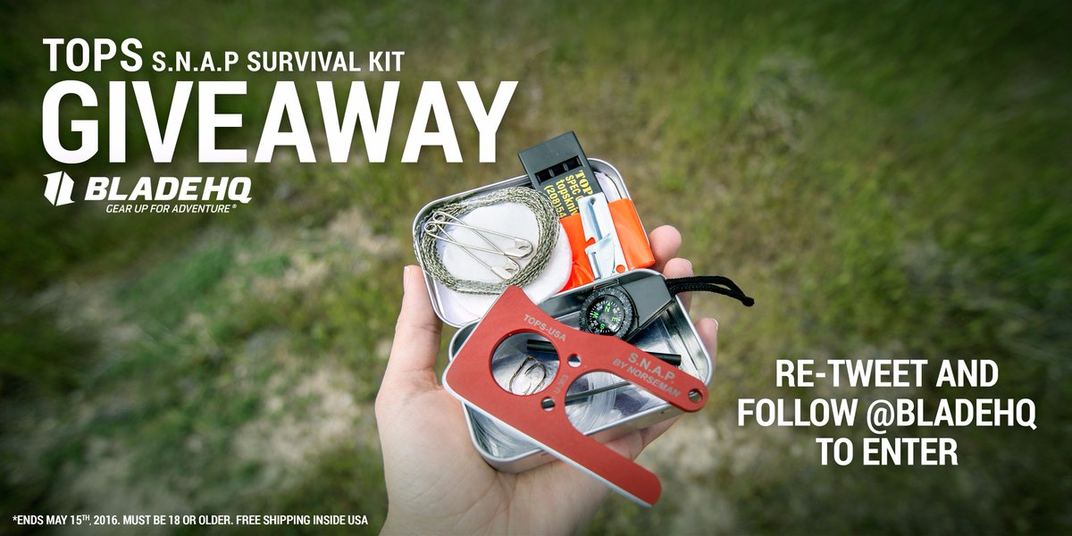 Re-Tweet and follow @Bladhq for your chance to win a free #TOPS S.N.A.P Survival Kit.   https://t.co/pIdvFFiixz https://t.co/PV9oOxyWUb