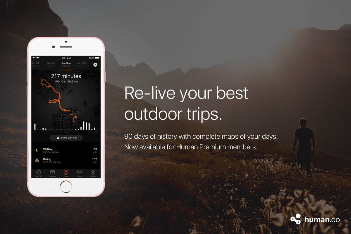 Excited about our latest @human release for iOS: 50-90% less battery impact and a beautiful new map of your day