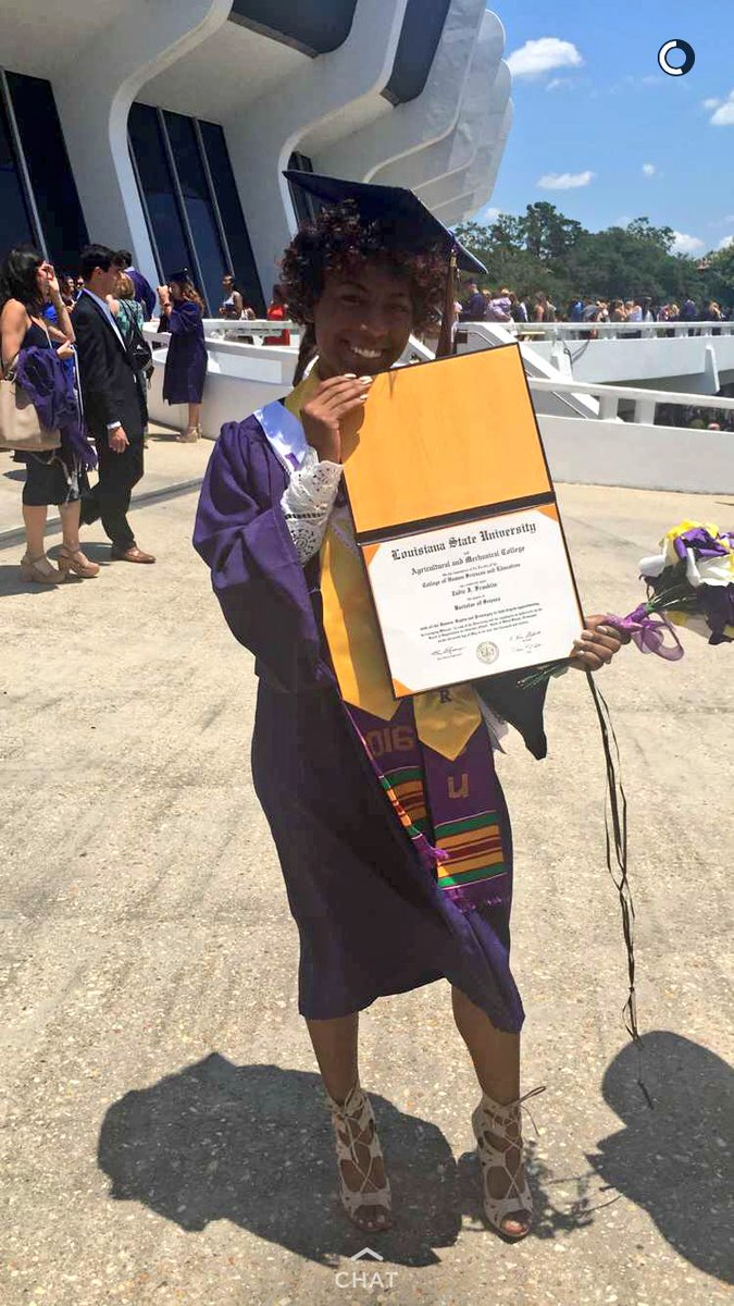 -Distingushed Scholar -CHSE Ambassador (President) -First Generation Grad -Youngest Graduate of LSU Spring16 (20) https://t.co/RpAgEDLD1p