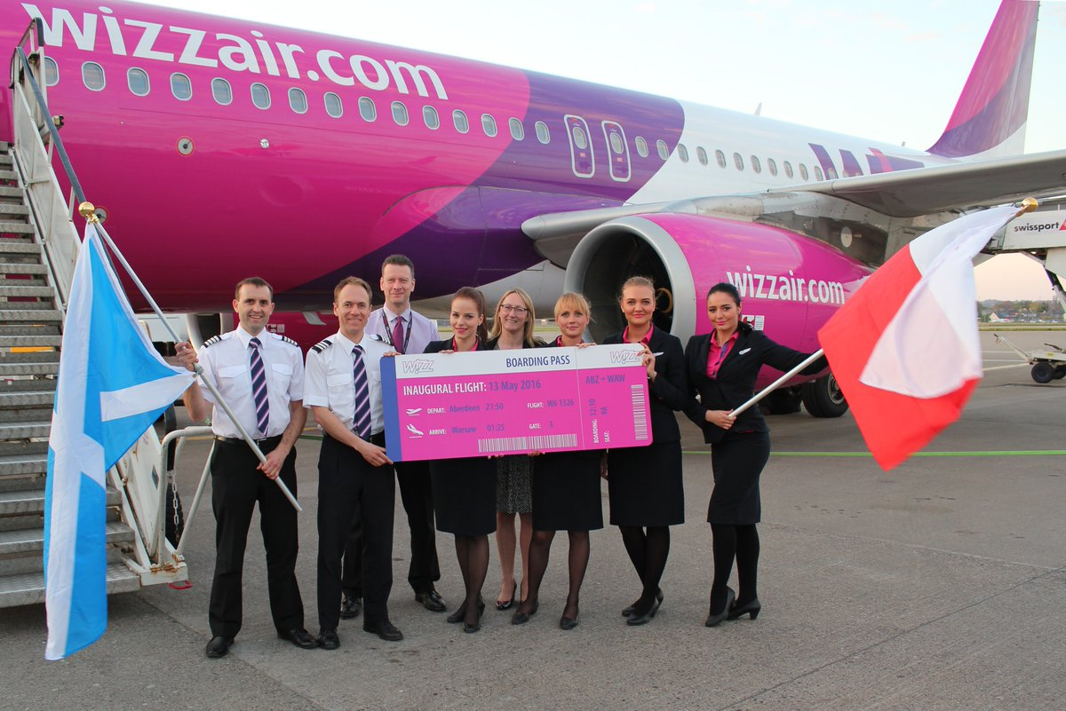 Last night we were thrilled to welcome the first flight from Aberdeen - Warsaw with @wizzair