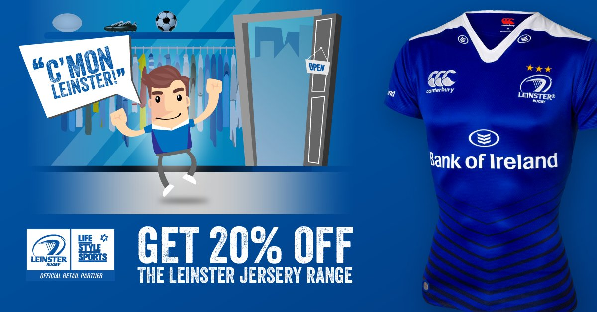 "Make sure you're in blue for @leinsterrugby with 20% off. Just come in store and shout ""C'mon Leinster""! #WeAreMany https://t.co/Js5sa8YVlG"