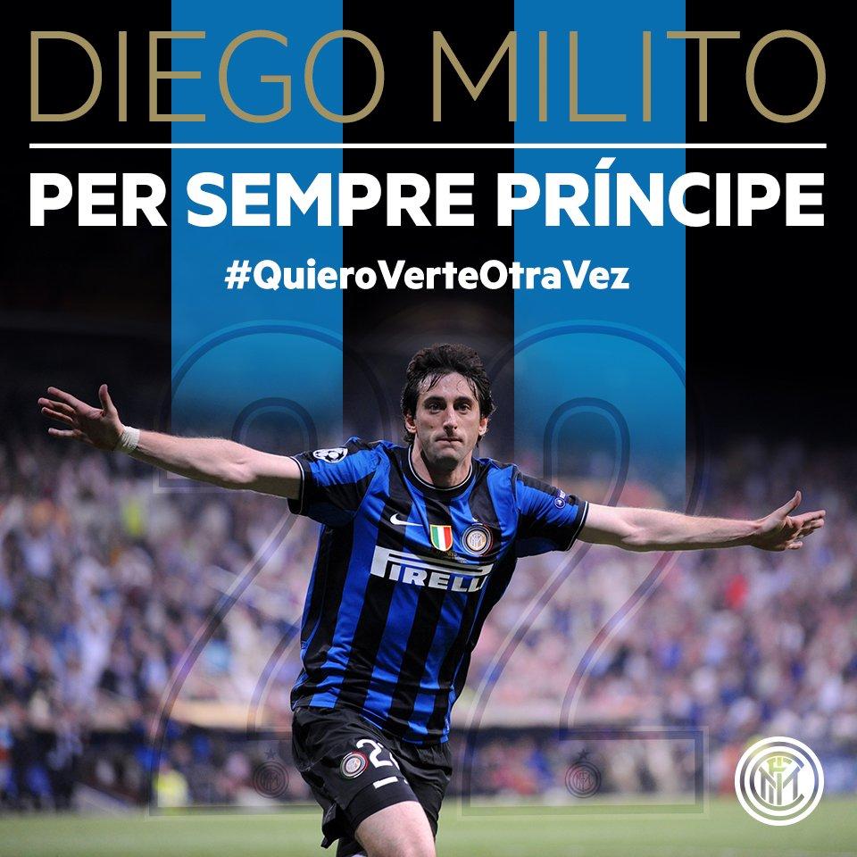 Insieme abbiamo scritto la storia. Buona fortuna Diego #Milito, per sempre Principe!
