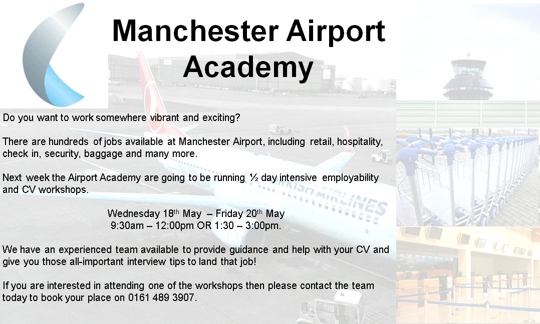 RT @JCPinManchester: Have you thought about working @manairport? Maybe the airport academy can help? See: https://t…