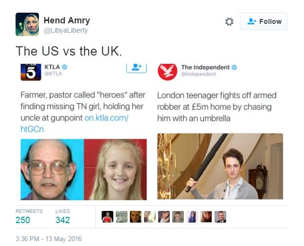 The difference between crime in the US and the UK - in two headlines