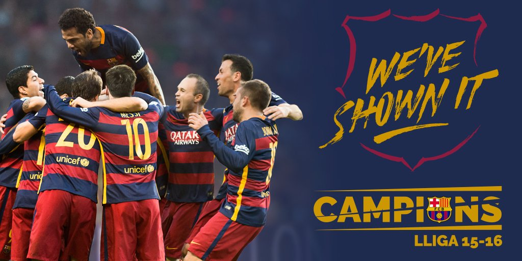 RT @FCBarcelona: ???? We are the Champions!  [FULL-TIME] Granada v @FCBarcelona (0-3) ⚽️ ⚽️ ⚽️ @LuisSuarez9  #CampionsFCB https://t.co/jA9LX5a…