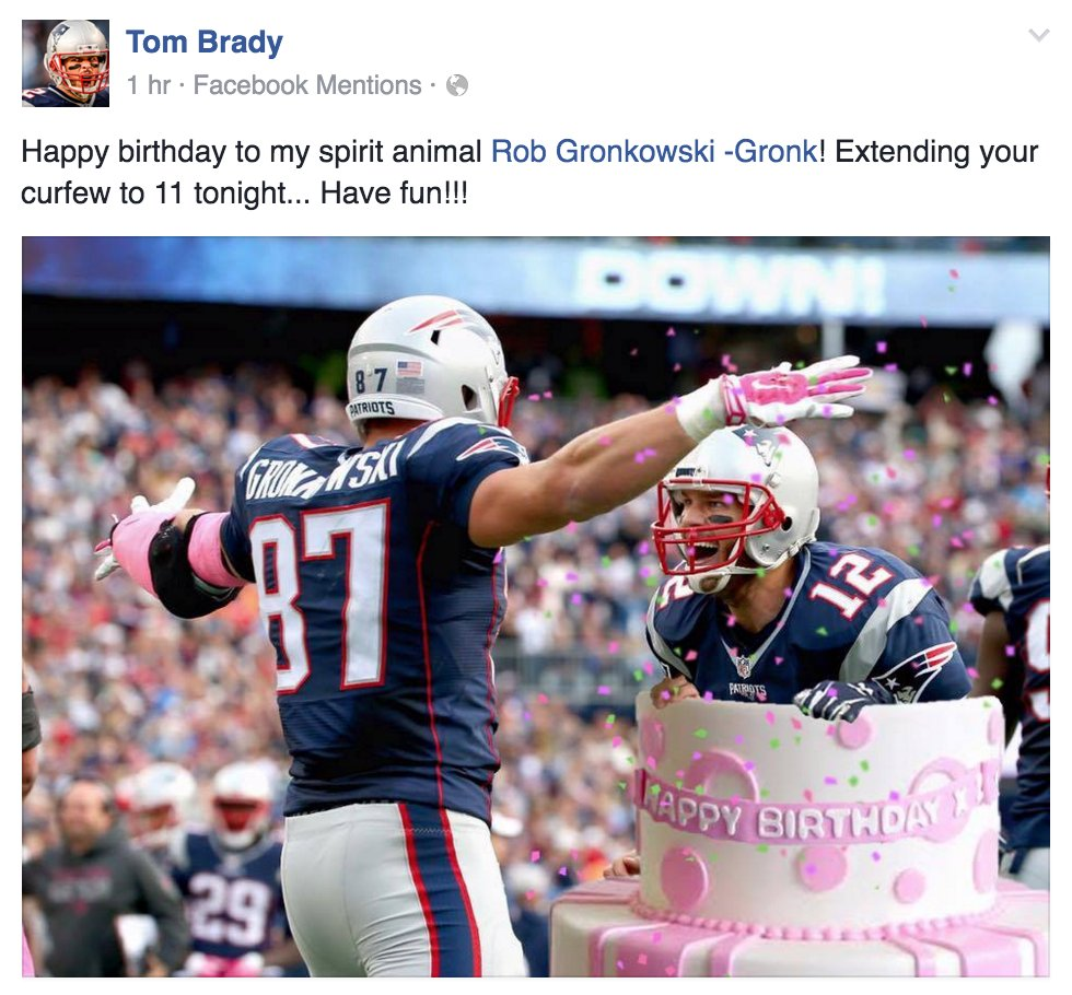 Heres Tom Brady Jumping Out Of A Cake To Wish Robgronkowski A
