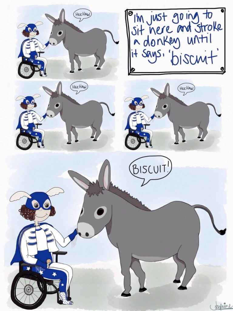"""Today's real #Tourettes: """"I'm just going to sit and stroke a donkey until it says, 'Biscuit'."""" #dailyoutburst https://t.co/QpVeaii1L9"""