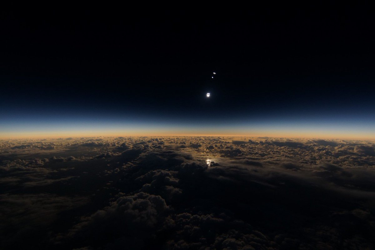 Celebrating AstronomyDay with a solar eclipse view from 35,000 feet. Photo: Evan Zucker