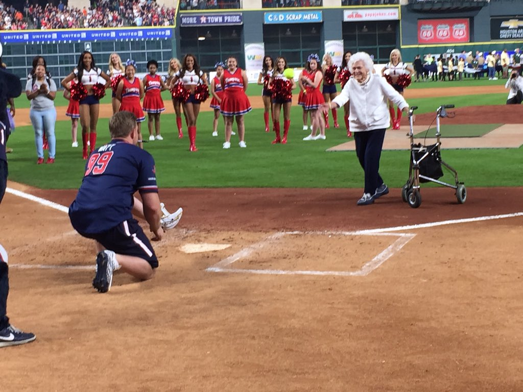 Barbara Bush throws first pitch! #JJWCC2016 https://t.co/bRd7xUwiYm