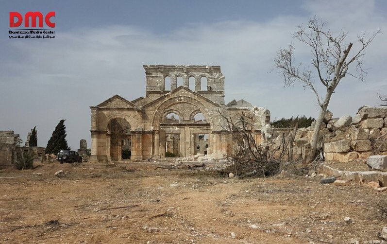 The Church of Saint Simeon Stylites, from 475 AD was leveled to the ground by a Russian air strike. #Syria https://t.co/YucCkhSl2i