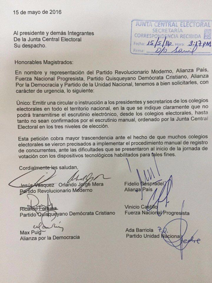 .@juntacentral no podrá transmitir escrutinio electrónico hasta no confirmar escrutinio manual en 3 niveles. https://t.co/YwToTp8oCI