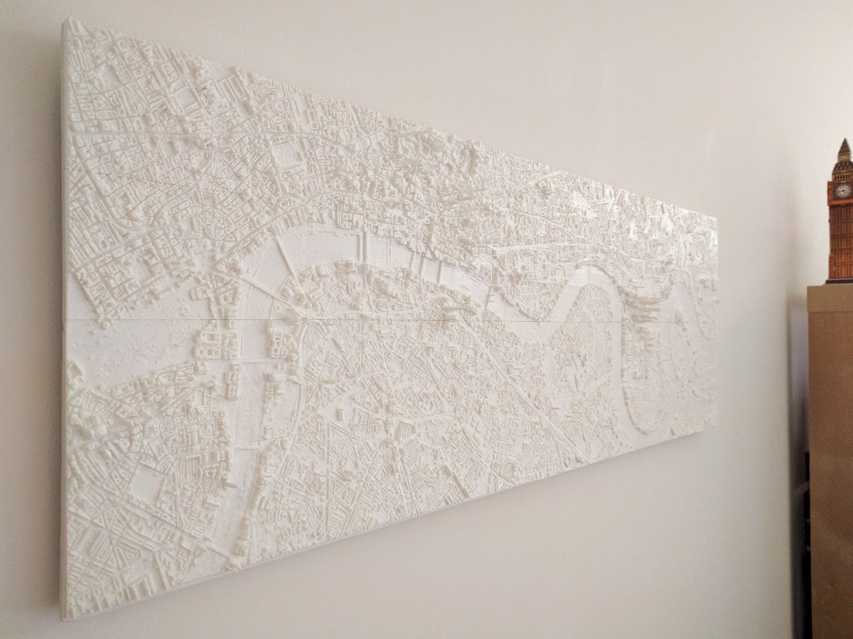 Finally got my 3D-printed London heightmap mounted and on the wall! Writeup coming soon. https://t.co/r4osjvh8Eh