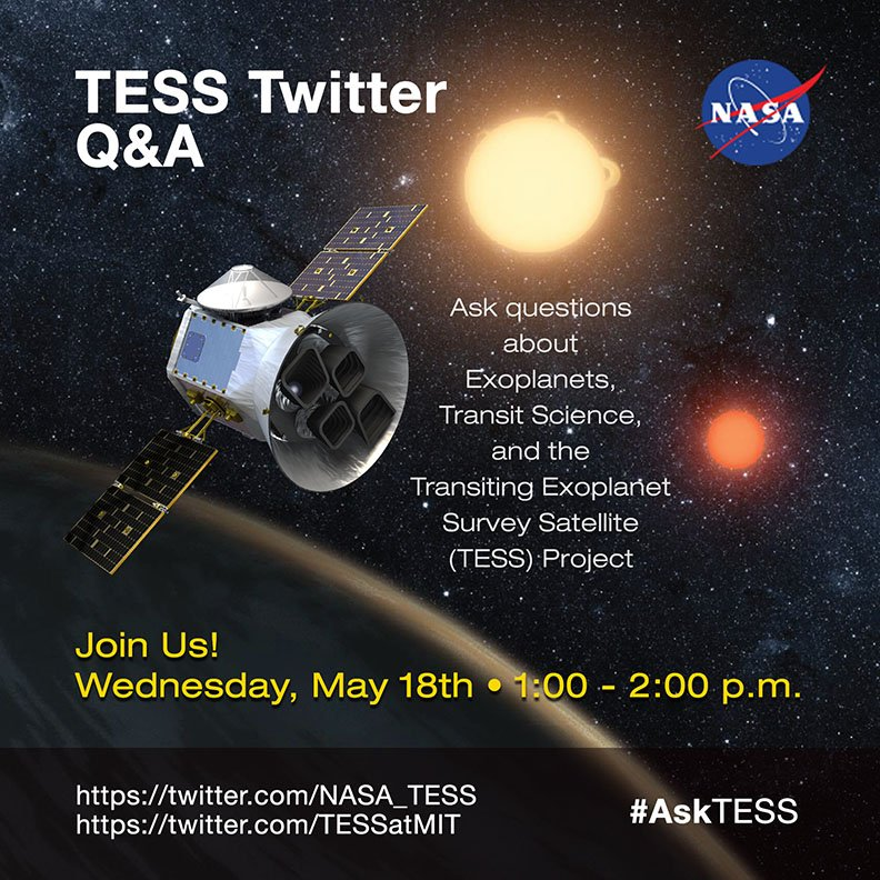 Coming up on Wednesday: the first #TESS science team @twitter Q&A with @TESSatMIT and @NASA_TESS! #AskTESS https://t.co/So5REbAY9U