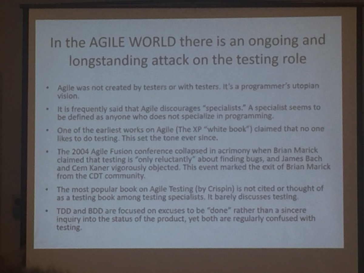 #MakeTestingGreatAgain teaches  that the agile world has a ongoing/longstanding attack on the testing role https://t.co/ZA2ME5bjcG