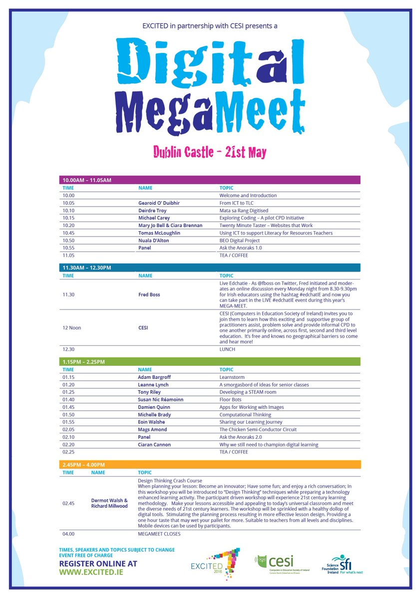Hope to see you at MEGA MEET in Dublin Castle this Saturday. But you can take part in #edchatie LIVE from anywhere https://t.co/kEDFlnxRrb