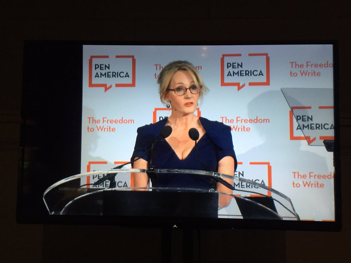 """I've always been very flattered to be included."" --@jk_rowling on banned-book lists. #PENgala https://t.co/ExPHbIkM3l"