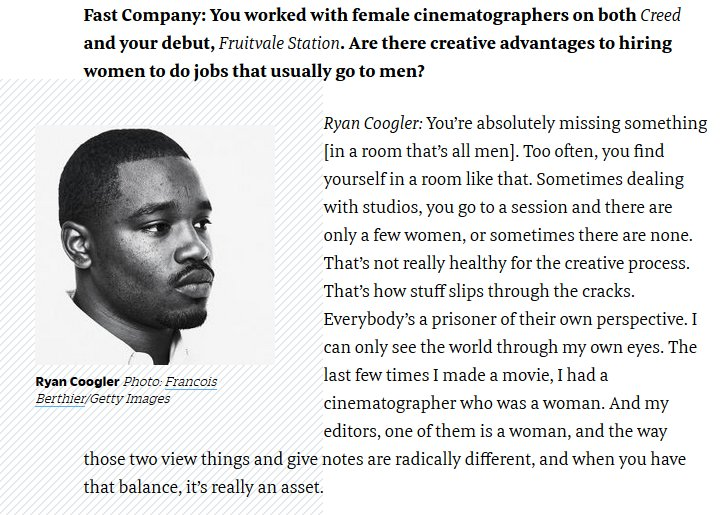 RT @FilmFatale_NYC: Ryan Coogler is featured in Fast Company. His thoughts on working with women cinematographers: https://t.co/VONvrpLod4