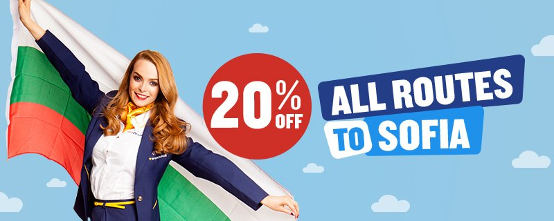 FLASHSALE! 20% off all routes to Sofia, travel Sep - Nov. One day only! Book here: