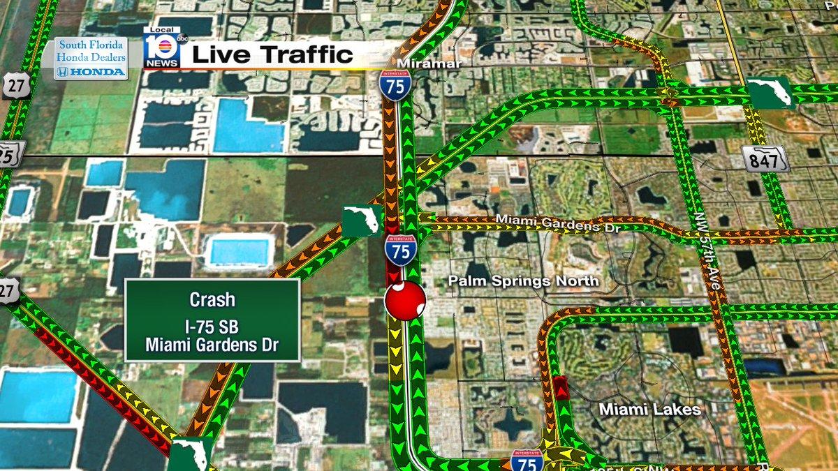 Crash On I 75 Sb Miami Gardens Dr Traffic Miami