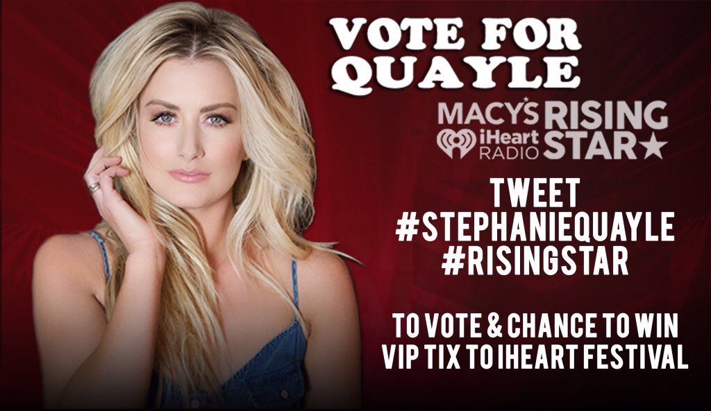 Place your vote for @StephanieQuayle into the Top 5 artists & win @iHeartRadio tix w #risingstar #stephaniequayle https://t.co/rhon99Jf5o