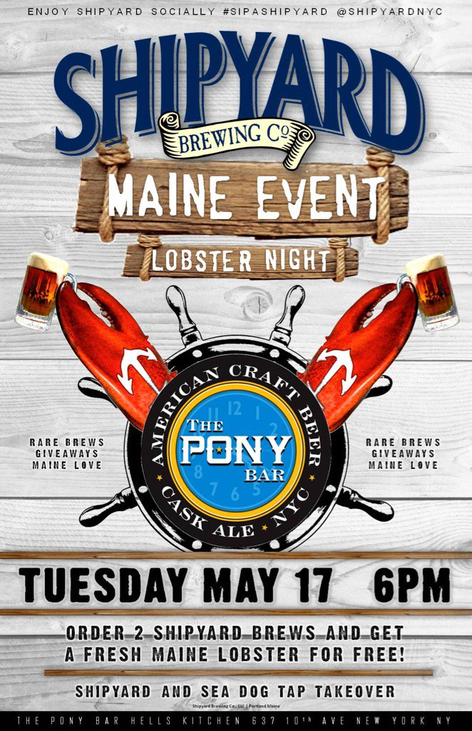 Tonight, 6pm. The 8th Annual Maine Event rolls on with @ShipyardBrewing Stay Gold, Pony......... https://t.co/nfJkazVgQk
