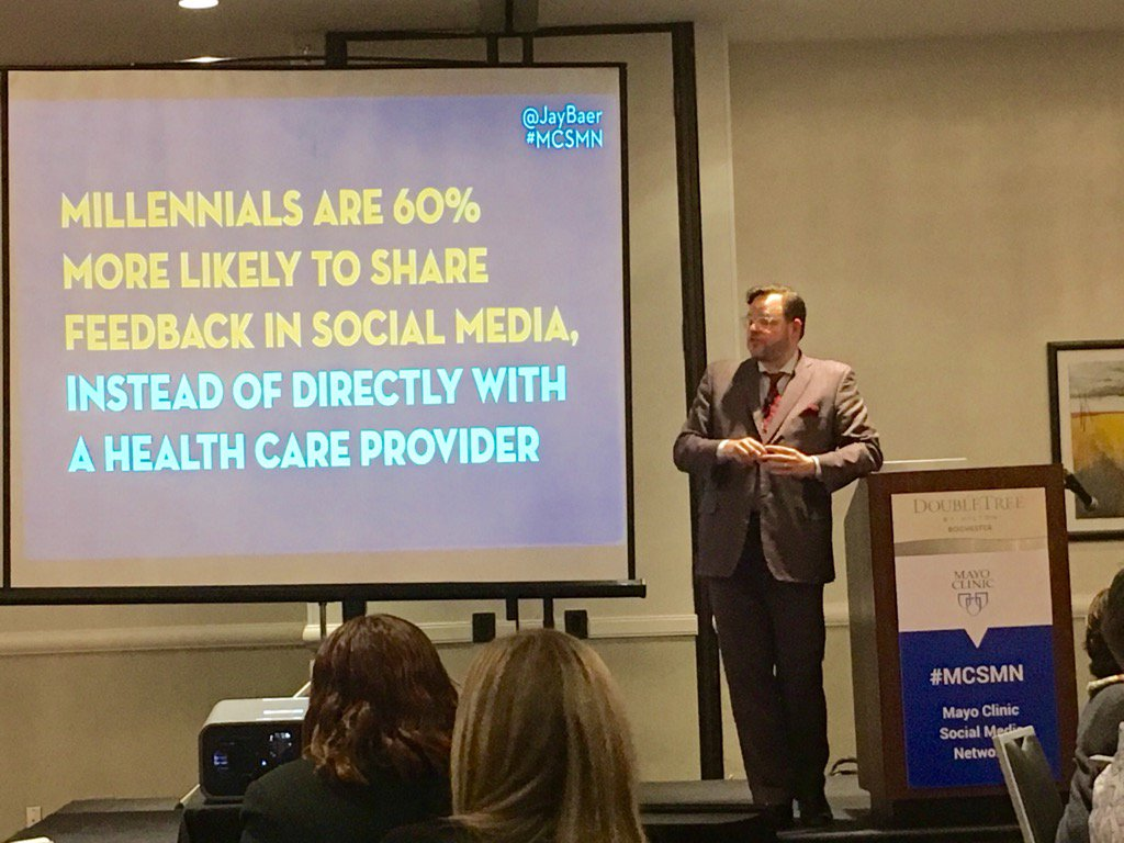 Millennials are 60% more likely to share feedback in social media than directly w/providers #MCSMN @jaybaer https://t.co/j0K9iVqHUk