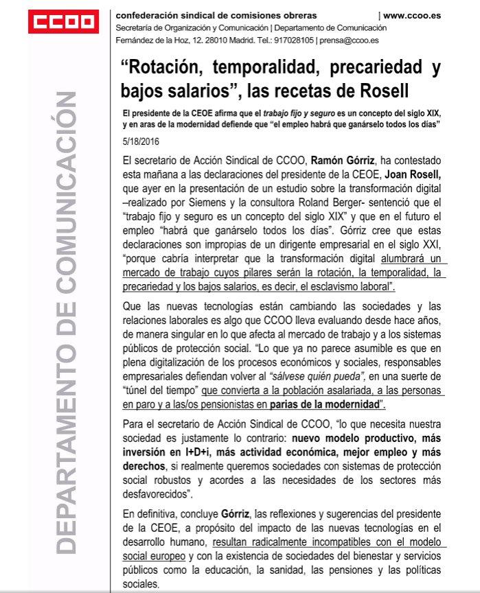 """""""Rotación, temporalidad, precariedad y bajos salarios"""", las recetas de Rosell https://t.co/gr8Xh9NK0X"""