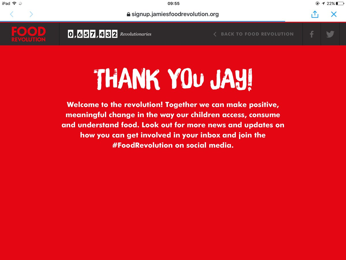 RT @WOODROWJAY: I'm on board @jamieoliver ???? #LetsDoThis #FoodRevolution https://t.co/7OABloL40S