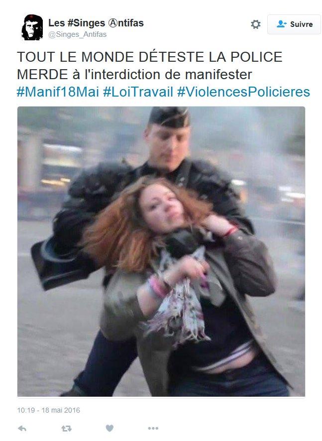 INTOX L'extrême-gauche utilise une photo @LaManifPourTous (en mettant #LoiTravail) pour illustrer sa #HaineAntiFlic. https://t.co/BLQegdt5Zj