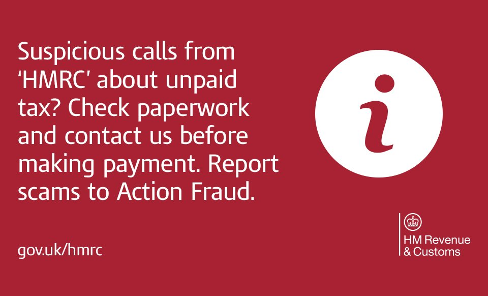 IMPORTANT: Received a call from someone claiming to be from HMRC? Be aware of phone scams https://t.co/jaOv5NmXsT https://t.co/fddD0q8QQA